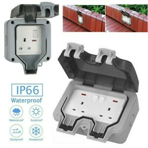 Waterproof Outdoor Double Switched Socket Box External Electrical Plug Protecter
