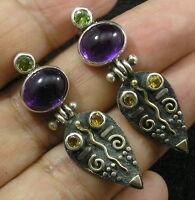 .925 Sterling Silver 22K Gold Amethyst Faceted Peridot Citrine Teardrop Earrings