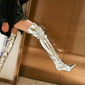 Sexy Womens Over The Knee Thigh High Boots Pointy Toe Stiletto Heels Party Shoes
