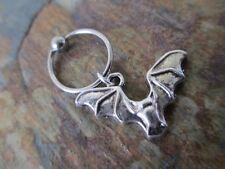"Gothic Silver Bat Cartilage Piercing Captive Ring Tragus Earring 16G Gauge 1/2"""
