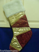 "FABRIC CHRISTMAS STOCKING-CRANBERRY/GOLD/WHITE-20""-FAUX FUR-TRIM-VELVET"