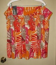 LANE BRYANT Plus Size Elastic Waist Cotton Floral Skirt  Orange  26W/28W  NWT
