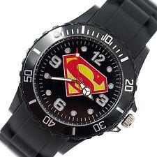 SUPERMAN SUPER MAN FILM SUPER HERO BLACK SILICONE ROUND SCI FI COMICS WATCH