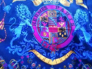 Gorgeous navy, gold, maroon with lighter blue lions square scarf