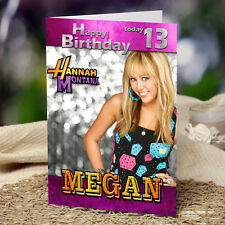 EXTRA LARGE Hannah Montana **A4 size Personalised Birthday Card** FAST Shipping