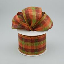 """2.5"""" Metallic Check Fall Wired Ribbon Moss, Rust, Brown,Copper/ 5 Yards Off Roll"""