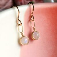 Details about  /Pure 14k Gold Feather-Weight Petite Dainty Cute Moonstone Drop Earrings 8-03