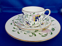Coalport Pageant Flat Tea Cup Saucer Plate Trio Floral Hand Painted England Vtg