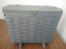 Vintage Wicker Woven Painted Slate Blue Picnic Basket w/wood handle & Legs