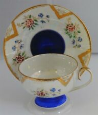 CUP & SAUCER WHITE LUSTER & ROYAL BLUE ROSES MADE IN JAPAN