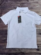 Under Armour Leader Short Sleeve Golf Polo Girls  Youth Large YLG White NEW