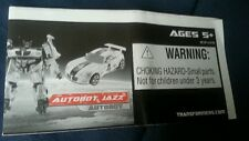 Transformers Movie G1 Autobot Jazz Instruction Booklet Only Free S/H