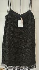 Diane Von Furstenberg Black Star Lace Tiered Dress Large
