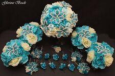 Bridal Bouquet Wedding Flower TURQUOISE IVORY 18 PC Set Rose Peony BEADED LILY