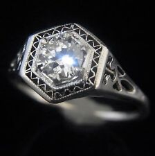 Art Deco Old Cut Diamond 14k White Gold Ring Engagement Promise Vintage c.1930s