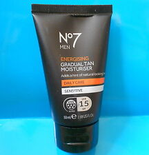 Boots No7 for Men Energising Gradual Tan Moisturiser UVA Protection 50ml - NEW