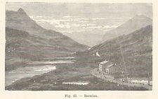 B1567 Bernina - Panorama - Incisione antica del 1924 - Engraving