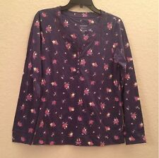 Charter Club Long Sleeve Floral Henley Pajama Top 13931 Navy Cabbage Rose