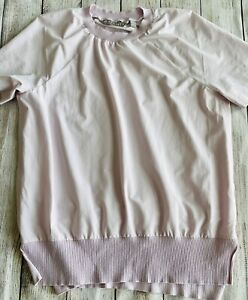 Athleta Women's Short Sleeve Fitted Athletic Top Pink Side Split Size XXS