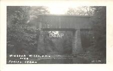 C54/ Windsor Mills Ohio Postcard Real Photo RPPC c1950 Covered Bridge Phelps