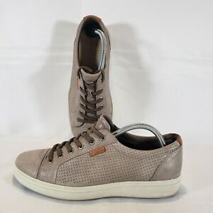 Ecco Mens Gray Leather Spikeless Golf Shoes Orange TPU Sole EUR 42 US 8 8.5