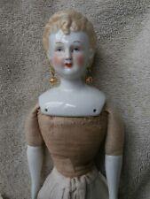 "Unusual Looking Antique ? Blonde China Head Doll Pierced Ears 12 1/2"""