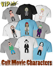VIPwees Mens ORGANIC Cotton T-Shirt Cult Movie Inspired Caricatures ChooseDesign