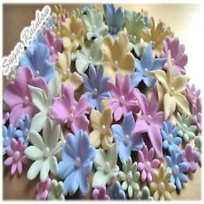 56 EDIBLE sugar PASTE flowers BUTTERFLIES cake CUPCAKE toppers DECORATIONS