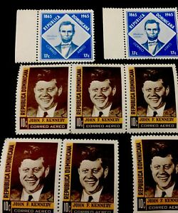 1964 1965 Dominican Republic Stamps Abraham Lincoln And John F. Kennedy