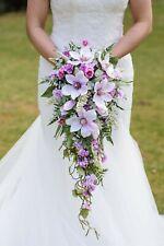 Wedding Bouquet Brides Artificial  Silk Cascading Teardrop Flowers Pink Magnolia