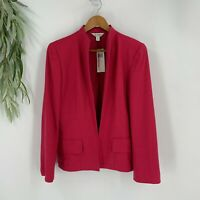 Austin Reed Blazer Jacket Womens Size 10 Open Front Pink Wool Blend Career New