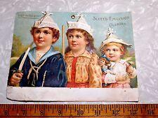 1894 Lovely Scott's Emulsion Calendar Cute Kids Norwegian Cod Victorian Card #W
