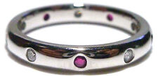 CAMELOT 14K WHITE GOLD DIAMOND SAPPHIRE ETERNITY STACKABLE STACKING RING BAND