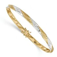 Ladies 14k Two-Tone Gold Polished and Satin Diamond-cut Flexible Bangle