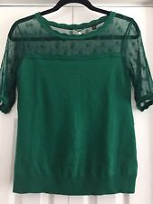 Knitted & Knotted Anthropologie Green Polka Dot Mesh Sweater Size S