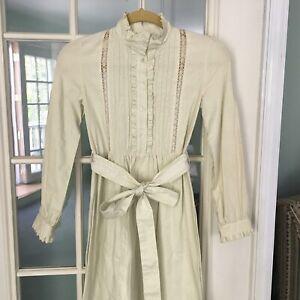 Vintage Laura Ashley Prairie Dress 80s Green NOS Calico Boho Girls 11-12 Yrs
