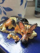 Rocky ~ The German Shepherd ~ Enameled Jewel Box & Necklace 62726