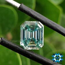 3.30 Ct Emerald Step Cut Light Aqua Green Color Loose Moissanite | 9.96x8.13mm