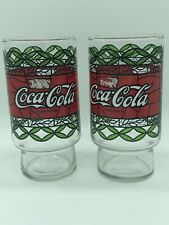 Vintage Set of 2 Tiffany Style Stained Glass Coca Cola Coke Drinking Glasses