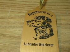 Happiness is a Labrador Retriever Rectangular Metal Key Chain with Ring
