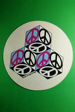 """WINGS OF LIGHT PEACE SIGN CUBES PINK BLUE BLK 1993 CLEAR SEE THRU ART 6"""" STICKER"""