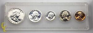 1962 US Proof Set Franklin Washington Jefferson Roosevelt Lincoln 5 pc Coins