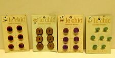 Vintage Sewing Buttons Original Display Card LE CHIC 4 sets Guaranteed Washable