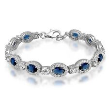 "New .925 Sterling Silver Vintage Blue Oval Sapphire & CZ 7.5"" Tennis Bracelet"