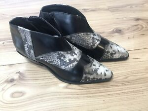 ASOS Women's Western Ankle Black Animal Print Cowboy Boot Shoes Hipster Size 9
