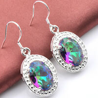 Romantic Style Jewelry Oval Rainbow Mystic Topaz Gemstone Silver Earrings