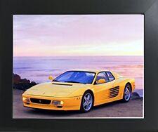 Yellow Ferrari Testarossa Transportation Old Car Wall Art Decor Picture Framed