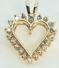 Pretty 14k Yellow Gold 20 Diamonds .50 Carat SI Chocolate Brown Pendant Heart