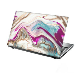 """TaylorHe Laptop Skin 13-14"""" Vinyl Sticker Decal Pink Marble Water Abstract"""