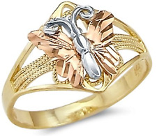 14k Yellow White Rose Three Color Gold Butterfly Ring Wedding Jewelry Size 8